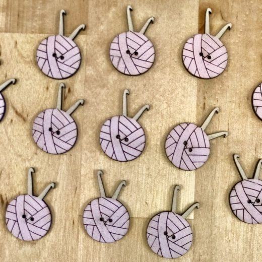 Botones Ovillos - rosa-crochet
