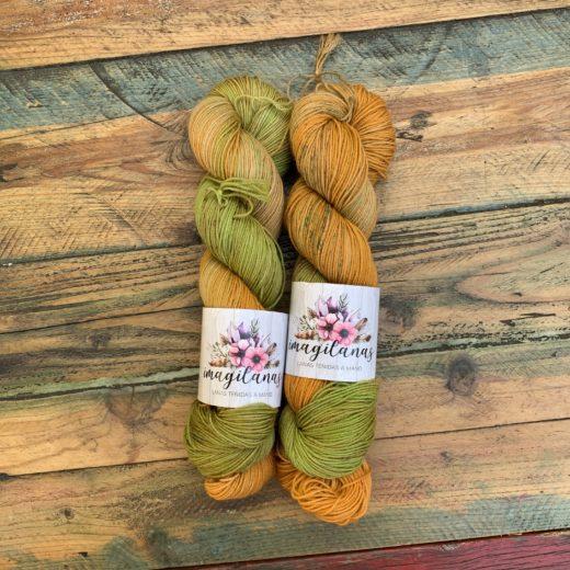 Imagilanas Lanas teñidas a mano - molona-hojas-secas