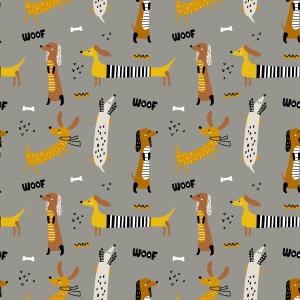 Telas Fabrics - perro-salchica-gris-algodon