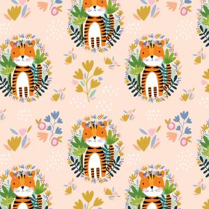 Telas Fabrics - tigre-rosa-algodon